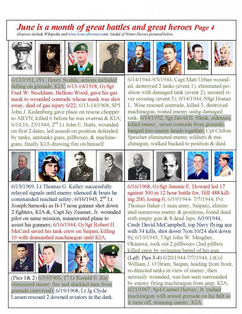 June 2015 Calendar from Pvt. George Phillips Detachment #1214, Marine Corps League.