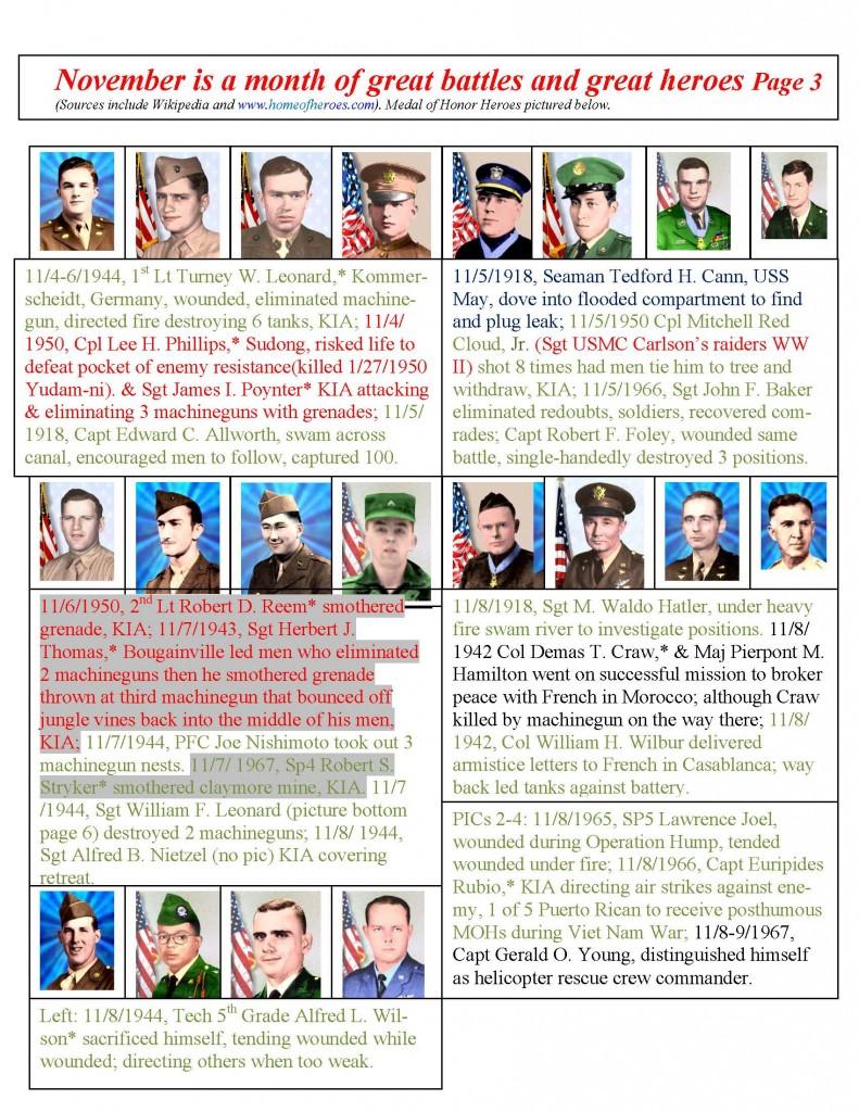 November 2015 Calendar from Pvt. George Phillips Detachment #1214, Marine Corps League